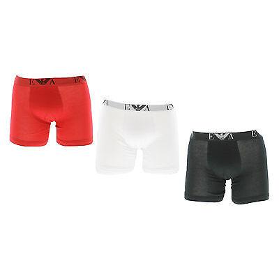 Emporio Armani Mens Pure Cotton 3-Pack Boxer Briefs - Red/White/Black (RRP £40)