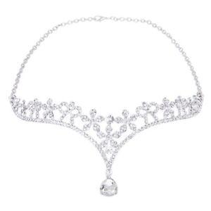 Crown-Tiara-Bridal-Bridesmaid-Crystal-Rhinestone-Flower-Frontlet-L3G9