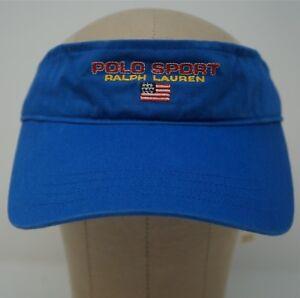 Rare Vintage POLO SPORT Ralph Lauren Spell Out USA Flag Visor Hat ... 7652cb354e63