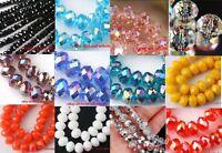 New 50pcs/80pcs Rondelle Crystal Glass Loose Spacer Beads U Choose Color/Size