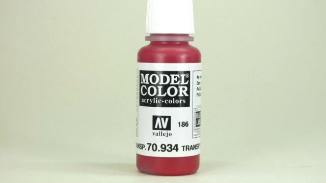 Vallejo Model Color TRANSPARENT RED 70.934 (186) 17ml Acrylic Hobby Model Paint