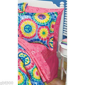 Image Is Loading Pink PEACE Sign Bed Sheet Set Sheets Girl