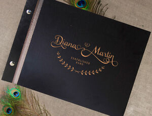 Details about Wooden Wedding Guest Book / Photo Album Rustic with Laser  Engraved Names