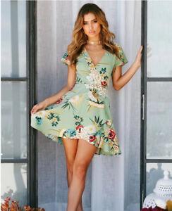 separation shoes b0aa8 4828a Dettagli su Elegante vestito abito fiori verde morbido scampanato slim  morbido 4324