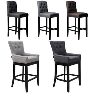 Details About Grey Brown Bar Stools Kitchen Breakfast Stool Fabric Linen Foam Seat Wooden Legs