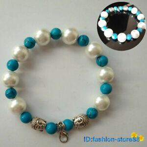 New-Tibetan-Silver-Turquoise-Bead-Bracelet-Buddha-head-Bangle-L1802