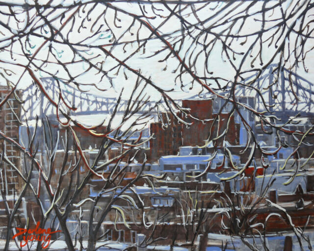 The Jacques Cartier Bridge, 8x10, egg tempera, Darlene Young Canadian Artist