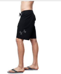 New Under Armour Mania solid black board shorts swim trunks 30 32 36 38 40