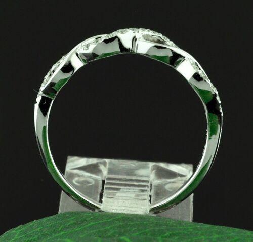 14k Solid White gold Natural Diamond Anniversary band ring 0.19 ct Braided