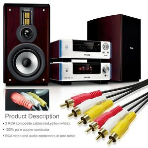 3-Male-RCA-to-3-Male-RCA-Composite-Video-Audio-A-V-AV-Cable-Gold-Plated-25Feet
