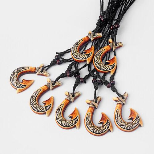 Lot 12PCS ethnictribal imité Yak Bone Maori Style Poisson Crochet Collier Pendentif