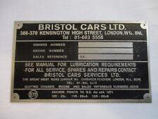 Typenschild Schild Bristol Cars 410 411 412 413 603 s26