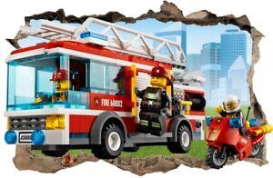 s31 Wandtattoo 120 cm Feuerwehrmann Sam Fireman Lego STICKER 3D ...