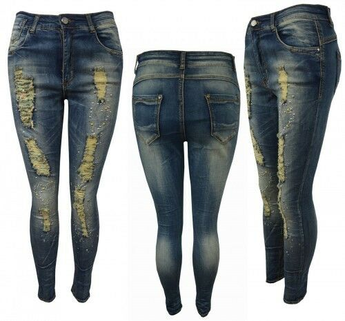Womens blue slim skinny  Plus Size Rugged Detail Diamante Jeans  Size UK 12-22