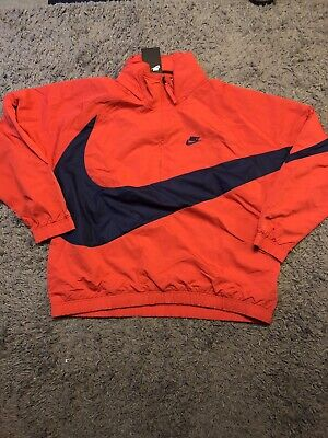 Nike Big Swoosh Anorak Half Zip Jacket Mens LARGE L Red ...