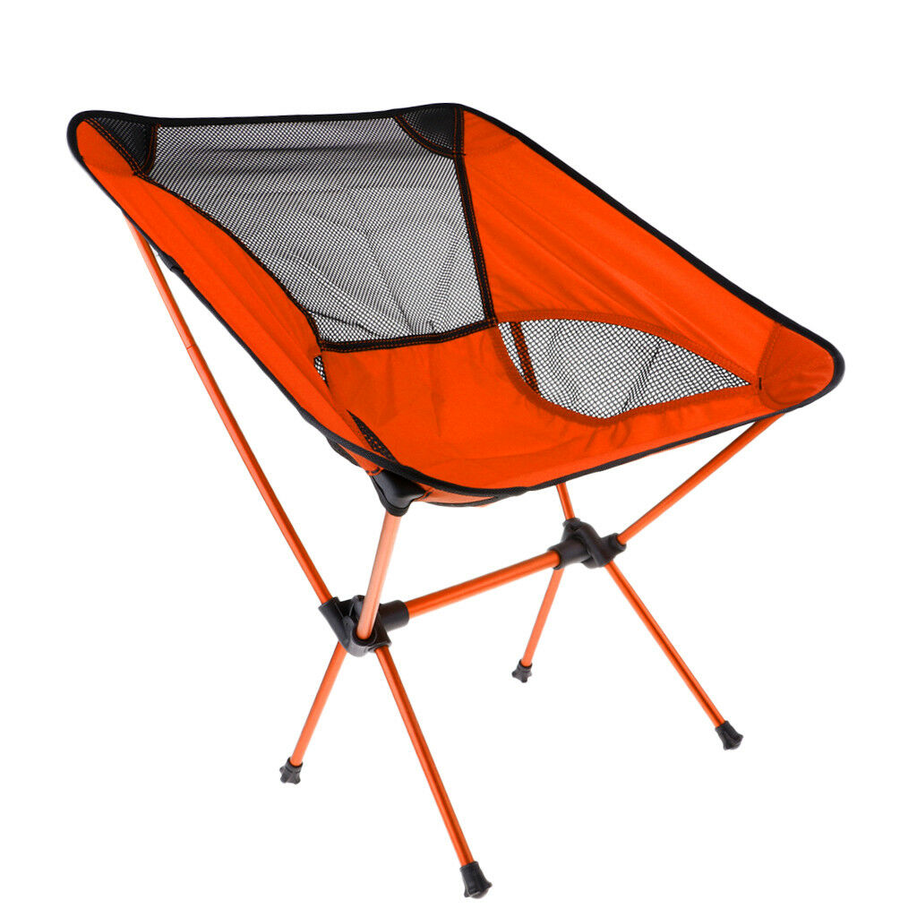 Portable Folding Camping Chair Outdoor BBQ Fishing Seat Lounger orange