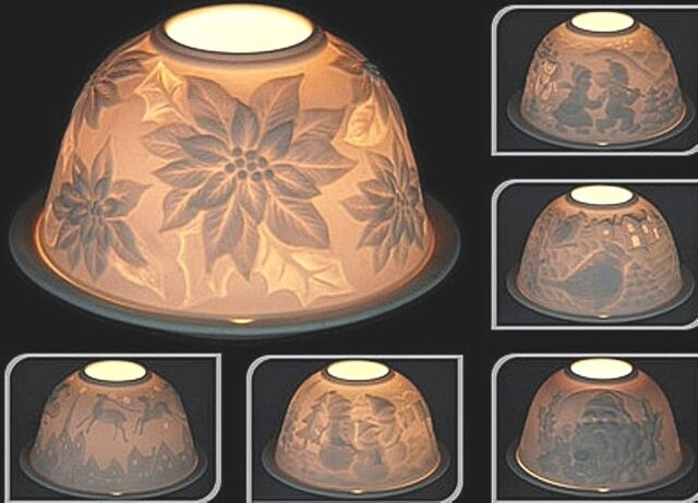 Christmas Bird Lithopane Ceramic Tealight Holder Candle Glow Dome Free Pp Uk For Sale