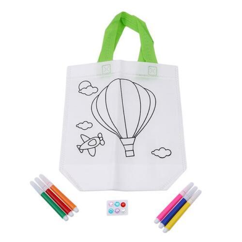 Stylish Kid DIY Painted Handbag Non Woven Graffiti Art Draw Pouch Bag NEW D