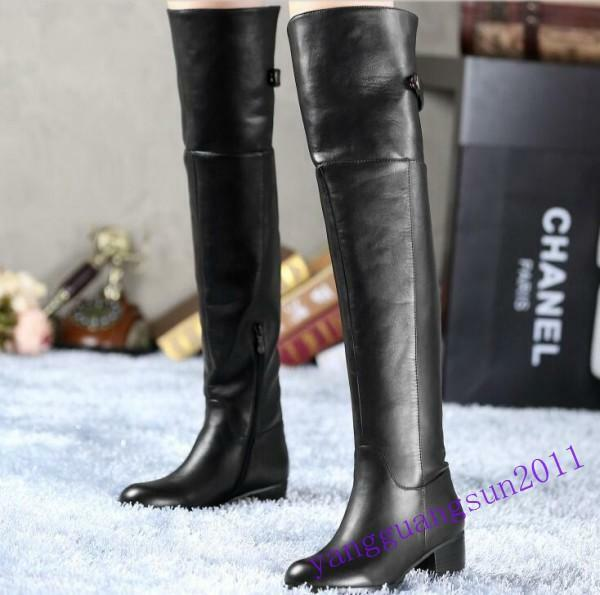 New Fashion Womens Low Block Heel Over Knee Riding Leather Leather Leather Winter Boot shoes US 00c6b2