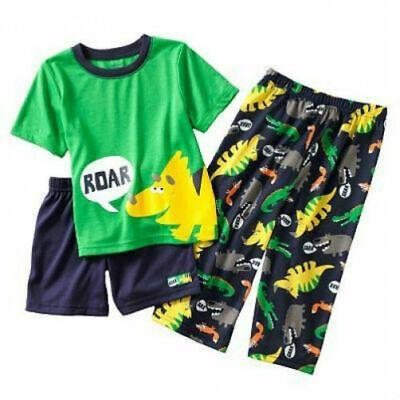 NWT Carters Construction Dinosaur Boys Short Sleeve Pajamas Set 18 24 M