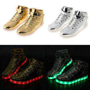 1ab40ce66d86 Gold Silver High Top Sneaker LED Light Up Trainer Dance Shoes USB ...