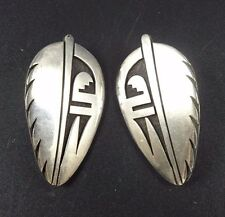 Signed Vintage HOPI Sterling Silver Overlay EARRINGS Clip-On Augustine Mowa Sr
