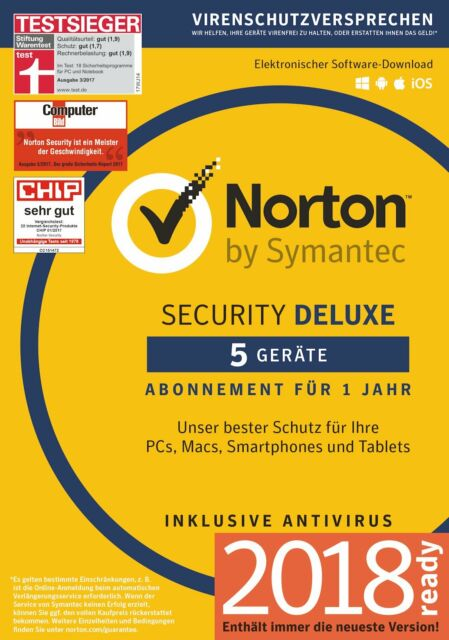 NORTON (Internet) SECURITY DELUXE 5-Geräte/1-Jahr 2017/2018 PC/Mac/Android / KEY