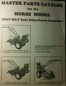 Details about Troy-Bilt HORSE Roto-Tiller Master Parts Manual Aug/75' on troy-bilt pony parts diagram, troy-bilt pony drive belt diagram, wheel horse rototiller belt diagram,