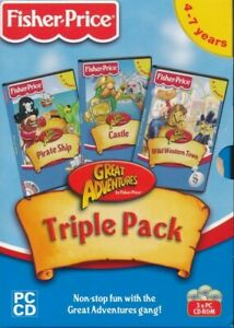 Fisher Price Great Adventure Triple Pack Castle Pirate Wild Western Pc Cd Rom Ebay