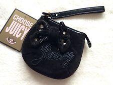 Juicy Couture Black Velvet Wallet Purse Clutch Bag Size S NEW