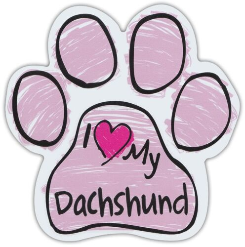 Pink Scribble Paws I LOVE MY DACHSHUNDDog Paw Shaped Car Magnets