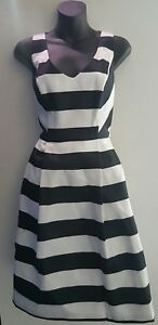 BASQUE-Dress-SIZE-8-Stripe-Pleated-Cocktail-Event-Myer-Designer-BNWT-RRP-169
