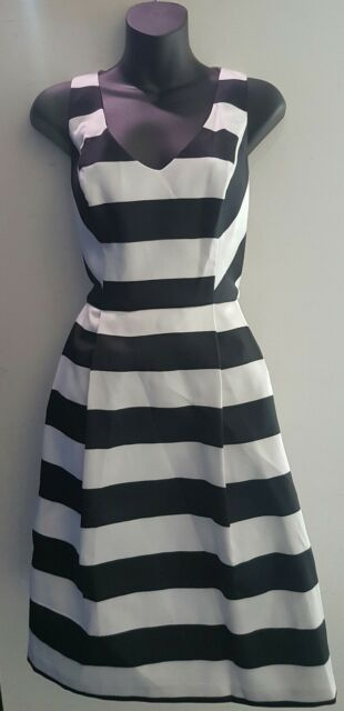 BASQUE Dress SIZE 14 Stripe Pleated Cocktail Event Myer Designer BNWT RRP $169