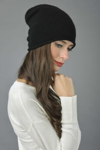 Slouchy Beanie Hat 100/% Pure Cashmere Plain Knitted Black MADE IN ITALY