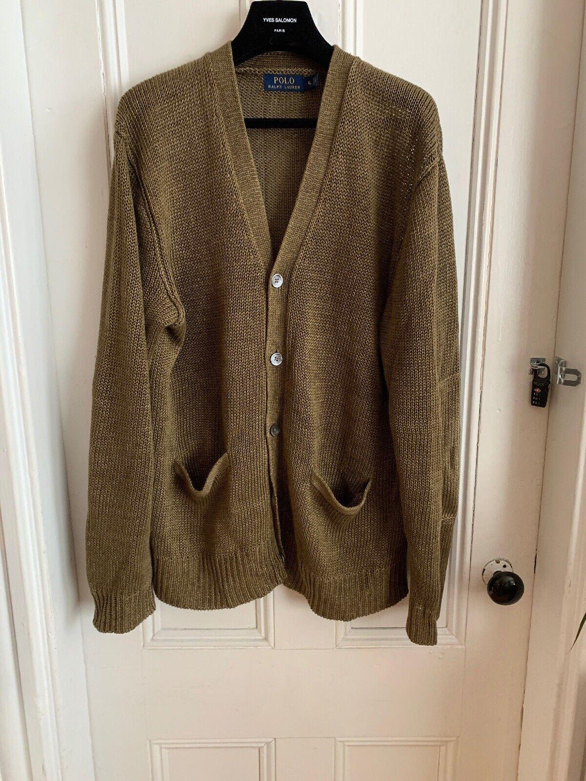 Polo Raph Lauren Linen Olive Grün Cardigan Größe Xl