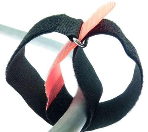 20 x Kabelklettband 50 cm x 50 mm neon rot Klettband Klett Kabel Binder Band Öse