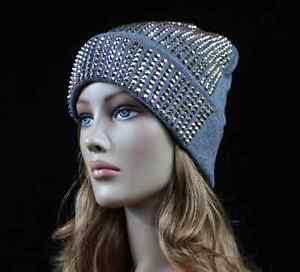f69563959d7 Women s Beanie Plain Rhinestone Studded Cap Ski Winter Oversize Hat ...