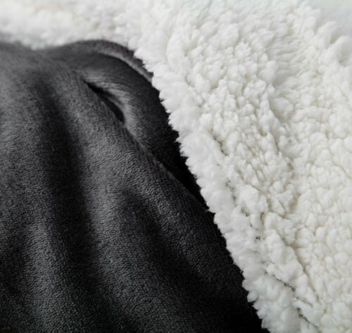 Red Navy Brookside Fleece and Sherpa Blanket- Gray and Black Multiple Sizes
