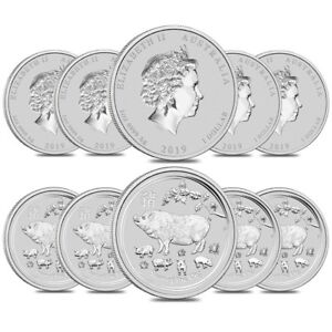 Lot of 10 - 2019 1 oz Silver Lunar Year of The Pig BU Australian Perth Mint In