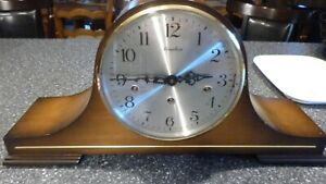 Linden-Triple-Chime-Mantle-Clock-Germany-Tested-works-wood-Germany-1050-020
