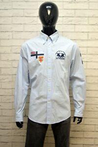 LA-MARTINA-Uomo-Camicia-Camicetta-Taglia-XL-Maglia-Shirt-Hemd-Cotone-Celeste