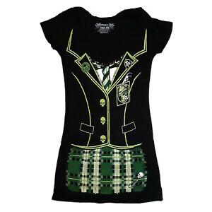 New-Kreepsville-666-Goth-Punk-Gothic-Horror-Womens-Black-Tunic-Mini-Dress-Size-L
