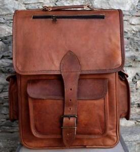 Leather Backpack Bag Men Laptop Shoulder Travel S Satchel Rucksack Brown Sling15
