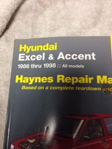 Haynes Hyundai Excel And Accent 1986-thru-1998 Repair Manual 43015