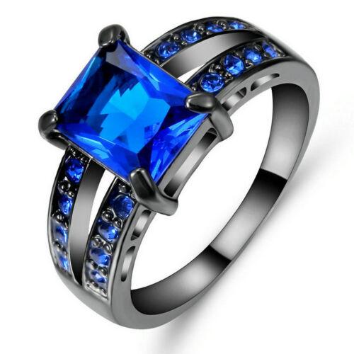 Taille 6 Carré Cut saphir bleu Big Stone Bague de Mariage 10KT Or Noir fillled