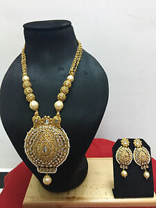 Indian-Ethnic-Bollywood-Gold-Plated-Bridal-Pearl-Fashion-Jewelry-Necklace-Set