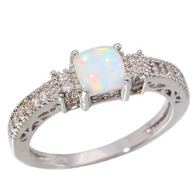 White Fire Opal CZ Women Jewelry Gemstone Silver Ring # 5 6 7 8 9 10 11 OJ5486