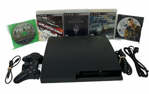 Sony-PlayStation-3-PS3-Slim-Bundle-Black-CECH-3001A-HEN-w-Controller-5-Games