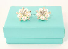 Audrey Hepburn Style Silver & White Faux Pearl Round Flower Crystal Earrings
