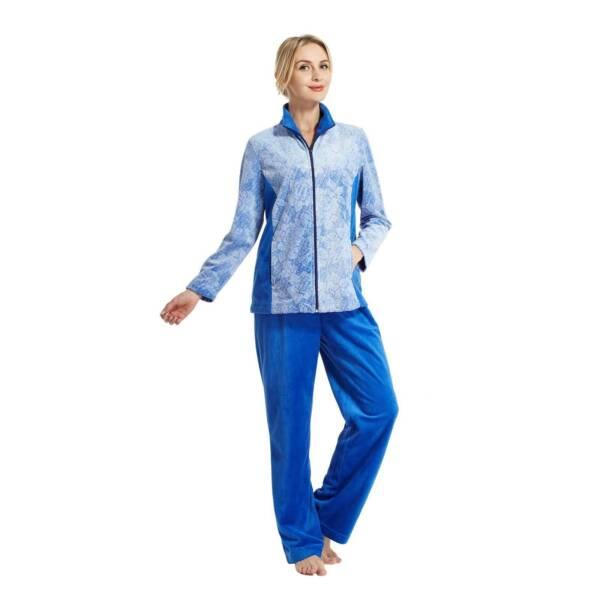 Hausanzug Damen Wellness Jacken Freizeitanzug Fitnessanzug Fitnessmode Blau XL